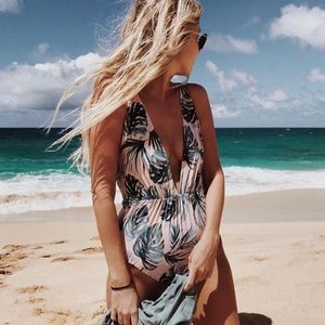 Tori Praver Andie One Piece Palm Print Medium